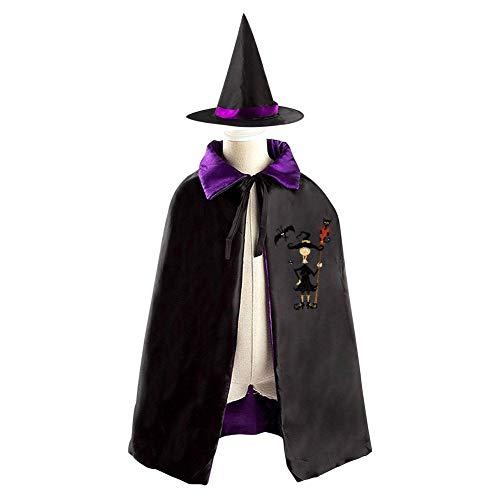 69PF-1 Halloween Cape Matching Witch Hat Magic Witch Wizard Cloak Masquerade Cosplay Custume Robe Kids/Boy/Girl Gift Purple
