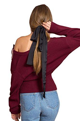 Tops De La Camiseta De Las Mujeres Suéter De Manga Larga De Encaje Hasta Wine