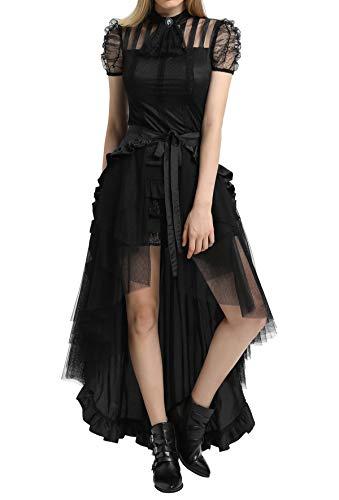 Black Steampunk Victorian Pirate Skirt Ruffles Bustle Skirt/Cape BP000206-1 S Black