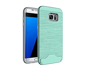 Dual Layer Brushed Texture Hard PC Cover Soft TPU Slicone Rubber Shockproof Case Rose Gold Galaxy S7 Case,Samsung Galaxy S7 Case Wallet with Debit Card Holder,Gostyle Kickstand Feature
