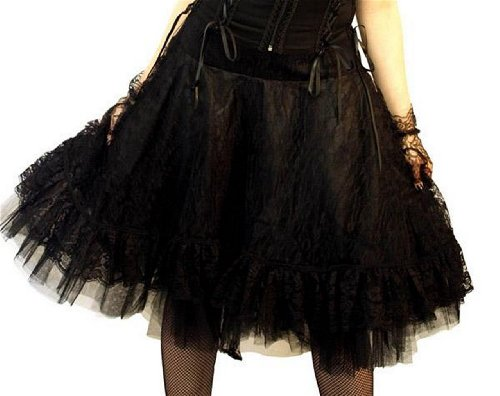Size 10 Altissimo Women's Black Satin Gothic Steampunk Lace Overlay - Satin Ladies Circle Bow