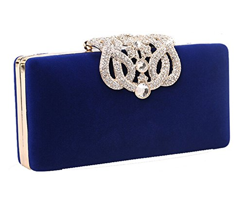 Rectangle Crowne Velvet Luxuxkristall Diamanten besetzte Shell Geldbörse Abendtasche Braut Clutch (Royal Blue)