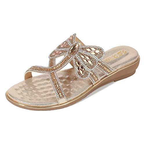 YuhooSUN Women's Boho Summer Ladies Crystal Flat Sandals Flip Flop Platform Peep Toe Casual Comfort Slip On Beach Shoes Gold