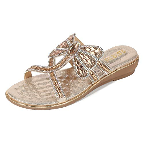 YuhooSUN Women's Boho Summer Ladies Crystal Flat Sandals Flip Flop Platform Peep Toe Casual Comfort Slip On Beach Shoes Gold 65 Womens Heels Shoes