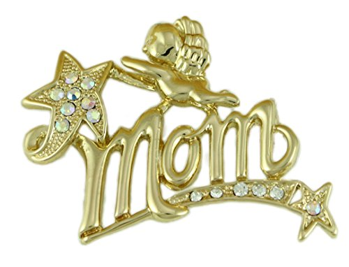 Lilylin Designs Mother's Day Gold-plated Cherub Mom Brooch Pin