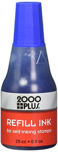 - 2000 Plus Refill Ink for Self-Inking Stamps, 25cc (0.9 oz) Squeeze Bottle, Blue