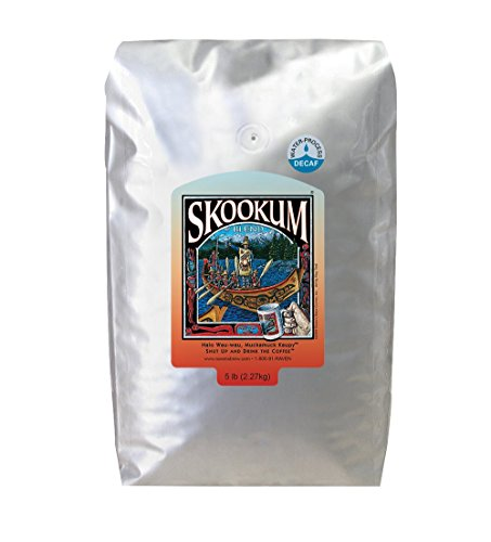 Ravens Brew Whole Bean Decaf Skookum Blend, Full City Roast 5-Pound Bag