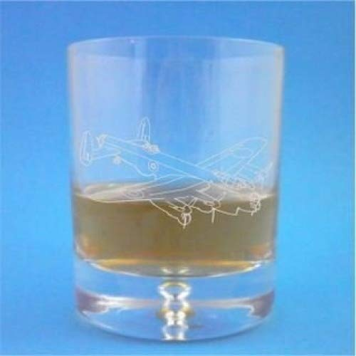 Bubble Base Whisky Glass With Lancaster Bomber Design - Includes Engraving up to 30 Characters Lapal Dimension