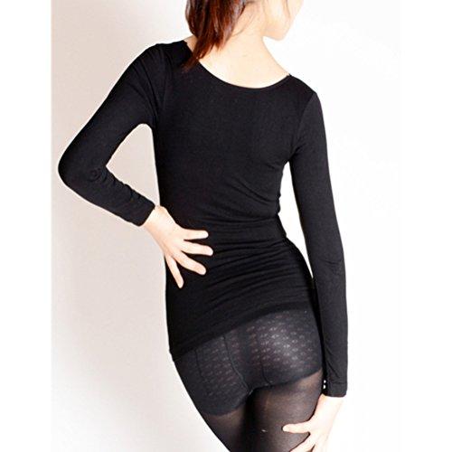 Zhhlinyuan Ladies Mujeres Warm Plus Velvet Thermal Underwear Slim V-neck Long Sleeves Pajamas Black