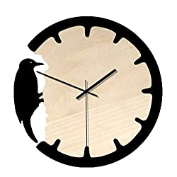 Nordic Woodpecker Style Wall Clock Silent Wooden Clock Home Living Room Black