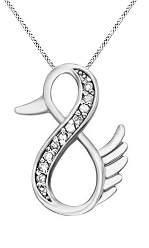 Natural Diamond Duck Infinity Pendant Necklace 14k White Gold Over Sterling Silver (1/10 (Silver Duck)