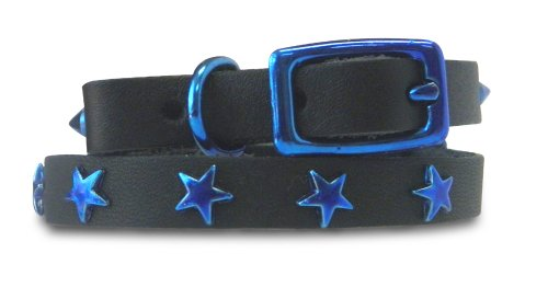 Platinum Pets Genuine LC10INBLUSTR Leather Cat/Puppy Collar with Stars, Sapphire Blue, My Pet Supplies