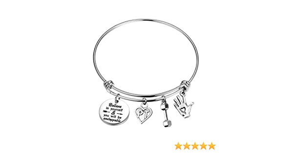 FUSTMW PT Gift Physical Therapy Bracelet Physical Therapist Jewelry Gifts PT Graduation Gift Adjustable Bangle Bracelet
