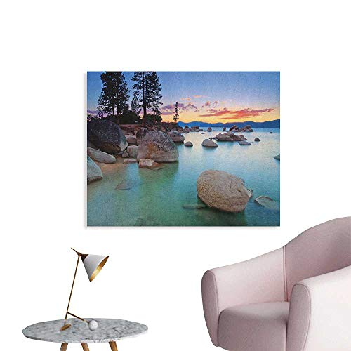 Anzhutwelve Lake Wall Sticker Decals Horizon on Stoned Sea Exquisite Sun Beams and Reflection Romantic Shore Coastal Theme Poster Paper Blue Grey W48 xL32 -