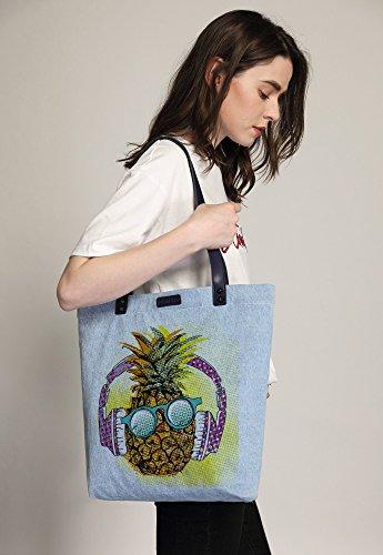 Shoulder Shopper Handbag Cool Pineapple Azul Bag Dye Women's So'each Denim Tote CAwp08q