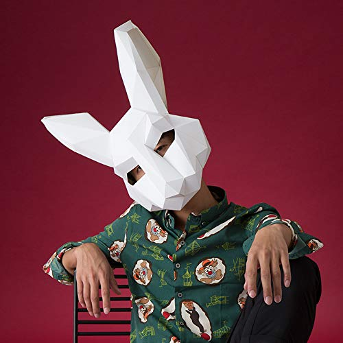 - Paper Infinity Funny Design Cartoon Rabbit Shaped Optional Color Eco-Friendly Paper Mask 3D DIY Party Mask(No Clipping)