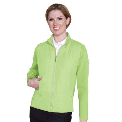 - Monterey Club Ladies Contrast Quilt Jacket with Rib Side Panels #2709 (Lime Meringue, Medium)