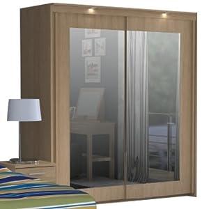 Bronte 2 Door Sliding Mirrored Wardrobe - Oak Effect ...