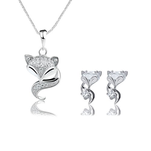 Ginasy 925 Sterling Silver Cute Fox Animal Pendant Necklace & Earrings Set (Fox (Animal Silver Jewelry Set)
