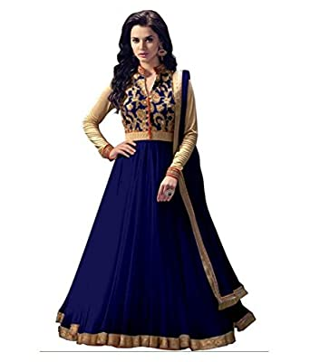 various design moderate price Super discount DreaM LadY Women's Salwar Suit(Angle Blue Net_Multi_Free Size)
