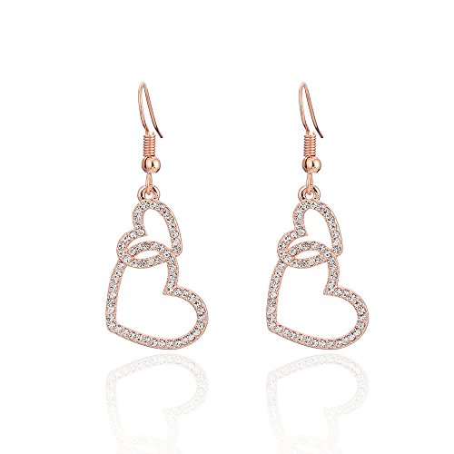 Earrings Heart Large Studded (Temperament peach heart-shaped small earrings simple personality love micro-studded ear hooks, rose gold)