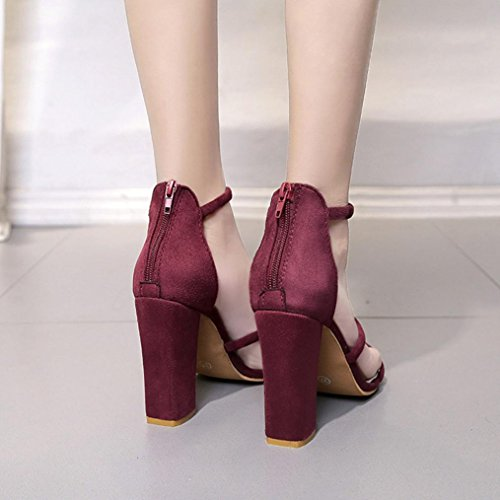 Une Chaussures Talons Sandals Rawdah Dames Open Chaussures Femmes Party Sandale Rouge Poisson Hauts Avec Femme à Toe Sandales Hauts Bouche Bouche Talons Cheville Zip De Mode De Block wFXqOXE