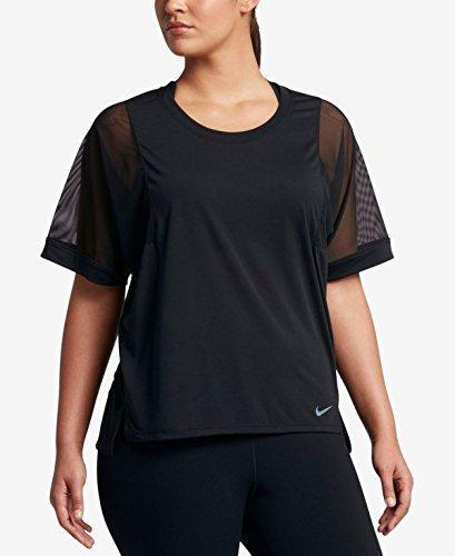 Nike Womens Plus Sheer Mesh Sleeve Pullover Top Black 1X
