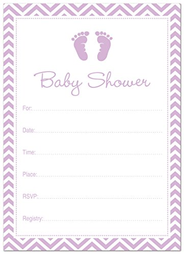24 Cnt Purple Baby Feet Footprint Fill-in Baby Shower Invitations