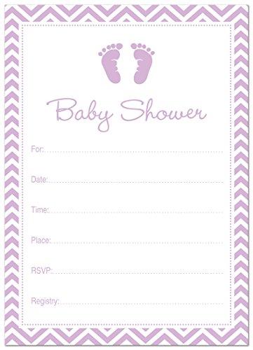 24 Cnt Purple Baby Feet Footprint Fill-in Baby Shower Invitations