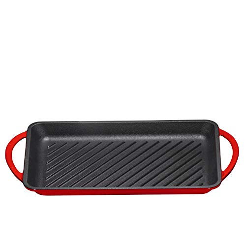 Enameled Cast-Iron Rectangular Grill Pan, Loop Handles, Fire Red, 9.5'' x 13.5'' by Bruntmor (Image #4)