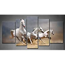 First Wall Art - 5 Panel Wall Art Black And White Three White Horses Running On The Ground Painting Pictures Print On Canvas Animal The Picture For Home Modern Decoration piece (Stretched By Wooden Frame,Ready To Hang)