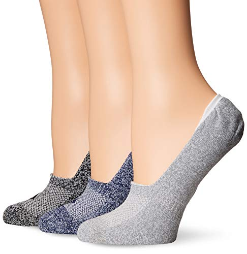 Sperry Top-Sider Womens 3 Pack Performance Cushioned Liner Socks Sockshosiery, Assorted Steel/Silver Blue, 9-11