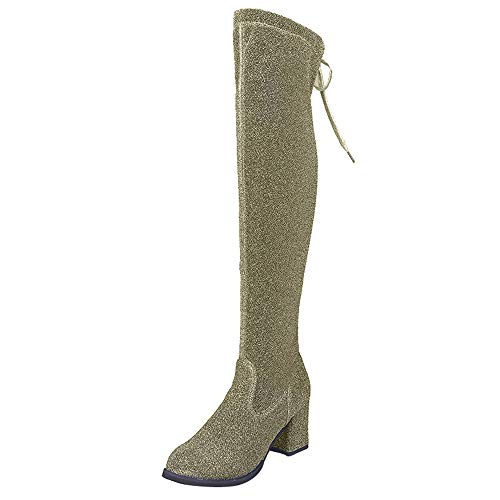 TIFENNY Women's Lace-Up Round Toe High Boots Fashion Soft Over The Knee Boots Solid Sequin High Heels Shoes Green