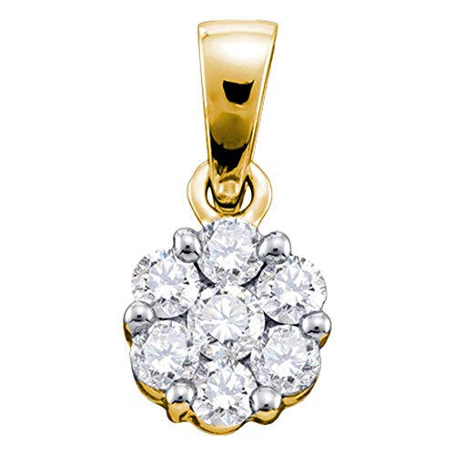 The Diamond Deal 14kt Yellow Gold Womens Round Diamond Flower Cluster Pendant 1/4 Cttw