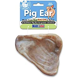 Pet Qwerks Real Bacon and FDA Compliant Nylon Pig Ear Dog Chew Toy for Aggressive Chewers (Made in The USA)