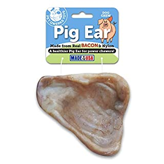 Pet Qwerks REAL BACON Infused Pig Ear Dog Chew Toy - Durable Dog Bones for Aggressive Chewers, Tough Power Chewer Bone Toys | Made in USA | For Small Dogs, & Puppies