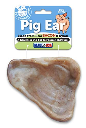 Pet Qwerks REAL BACON Infused Pig Ear Dog Chew Toy - Durable Dog Bones for Aggressive Chewers, Tough Power Chewer Bone Toys | Made in USA with FDA Compliant Nylon - For Small Dogs, & Puppies
