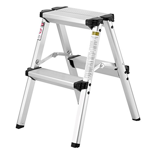 Finether Folding 2-Step Stool Aluminum Double Sided Step Ladder with 330 lbs Capacity for Warehouse Garden Kitchen Office