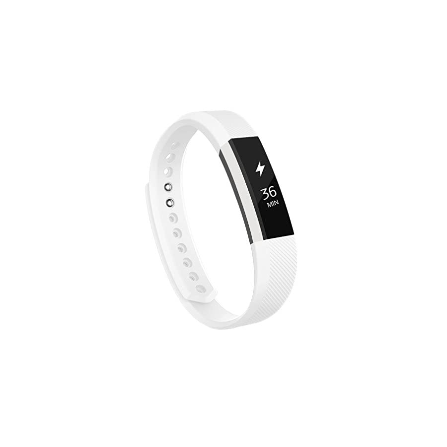 "AK Fitbit Alta Bands, Replacement with Metal Clasp, 0.5"" H, Large, White"