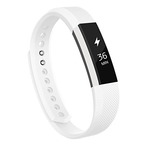 AK C 113 Fitbit Alta Bands, Replacement with Metal Clasp, Small, White