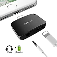 2 in 1 Lightning Adapter for iPhone 7/7 Plus, Steanum Lightning to 3.5mm AUX Headphone Jack Adapter (Audio + Charge) Compatible with iOS 10.3 - No Calling Function and Music Control (Black)