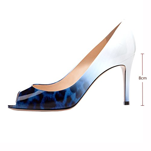 Bout Bleu elashe Mariage Talon Léopard Femms de Ouvert Toe Soirée Escarpins Escarpins Peep Escarpins Talon Femme 8CM Haut vUZxwTvrq