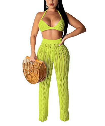 Salimdy Women Sexy Mesh See Through Crochet Bandeau Tops and Legging Pants 2 Piece Bikini Swimsuit Cover-ups Beach Outfits Green XL