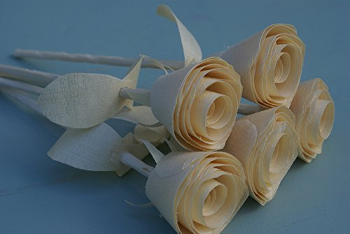 5th anniversary, 5 Natural Wood Roses for 5 year wedding, Five Handmade Wooden Roses, Centerpiece, Birthday gift, flowers