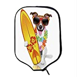 YOLIYANA Ride The Wave Durable Racket Cover,Surfer Puppy with Sunglasses and Tropical Hibiscus Flowers Hawaiian Dog Print for Sandbeach,One Size