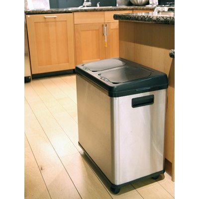 iTouchless 16 Gallon Stainless Steel Dual Trash/Recycle Can (2 Compartment Trash Can)