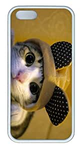stylish cases cute dressed cat TPU White Case for iphone 5/5S