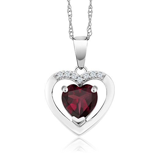Diamond Heart Drop Pendant - 10K White Gold 0.77 Ct Red Rhodolite Garnet and Diamond Heart Pendant