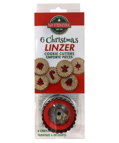 R&M International 1848 Christmas Linzer Cookie Cutters, Angel, Candy Cane, Bethlehem Star, Bell, Christmas Tree, Ornament, 6-Piece Set (Mini For Tarts Christmas)