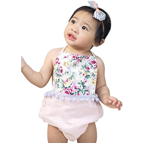Toraway Infant Newborn Baby Girls Floral Sleeveless Romper Jumpsuit Outfits Clothing (6-12 Month, Pink)